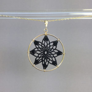 Tavita necklace, gold, black thread