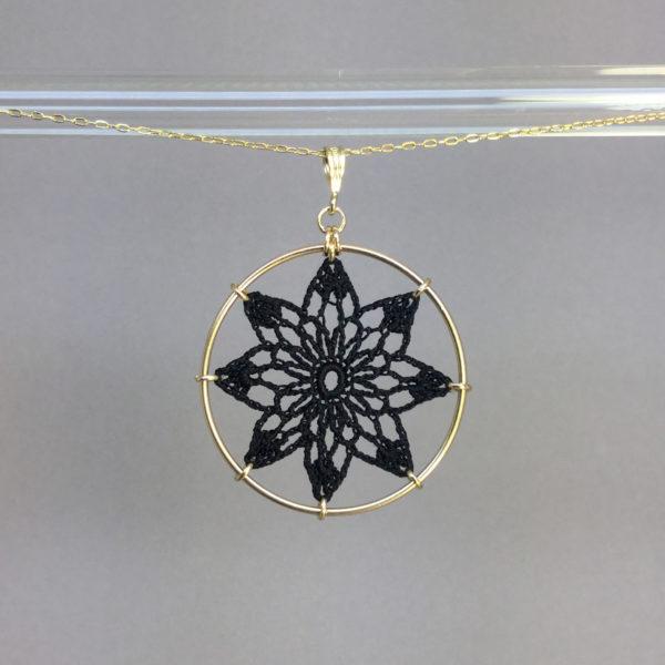 Tavita necklace, gold, black thread