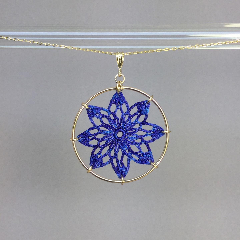 Tavita necklace, gold, blue thread