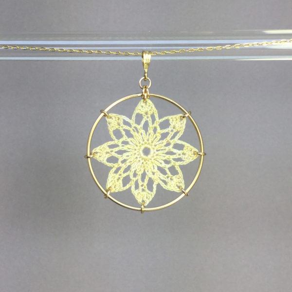 Tavita necklace, gold, ivory thread