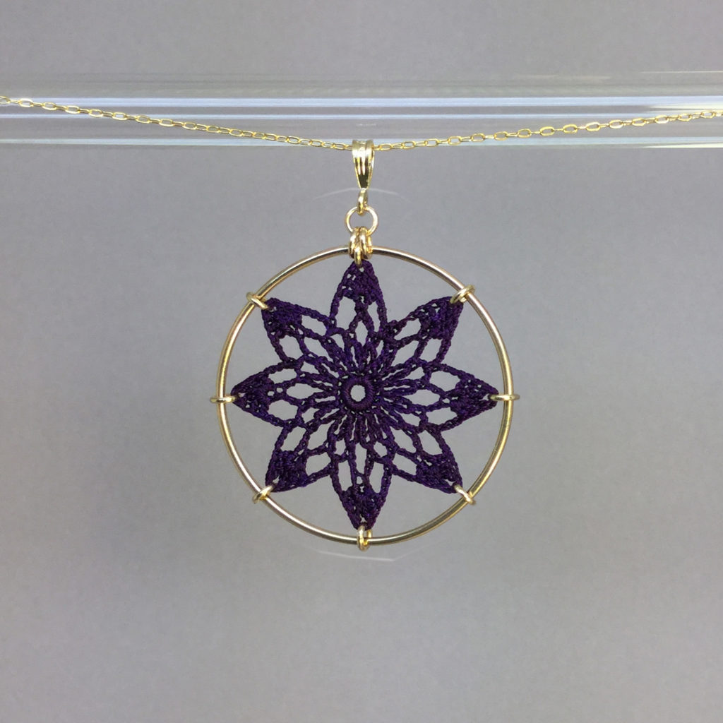 Tavita necklace, gold, purple thread
