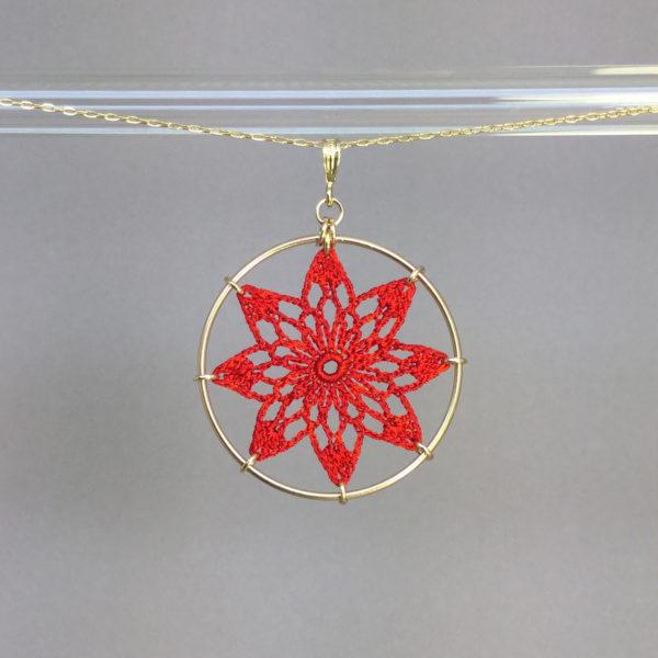 Tavita necklace, gold, red thread