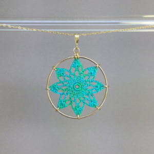 Tavita necklace, gold, shamrock green thread