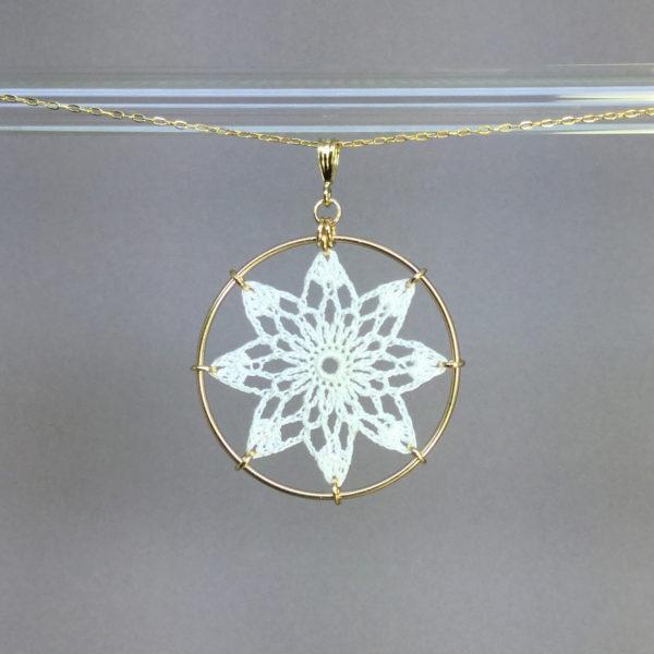 Tavita necklace, gold, white thread