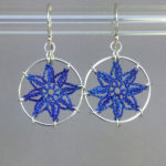Compass Rose earrings, silver, blue thread