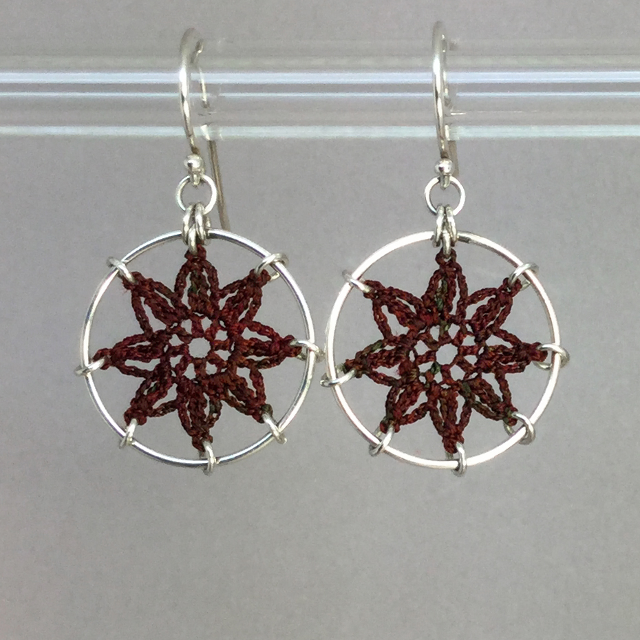 Compass Rose earrings, silver, chile thread