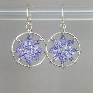 Compass Rose earrings, silver, lilac thread