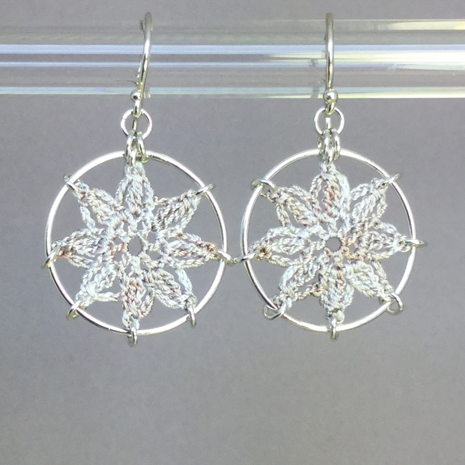 Compass Rose earrings, silver, pearly thread