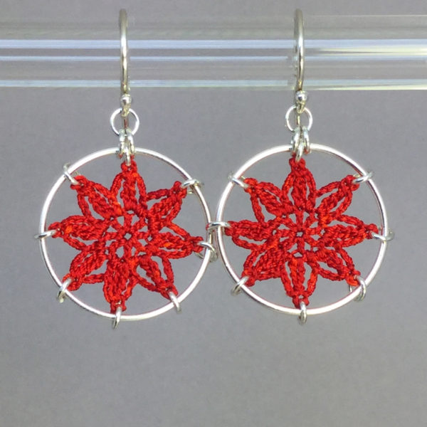 Compass Rose earrings, silver, red thread