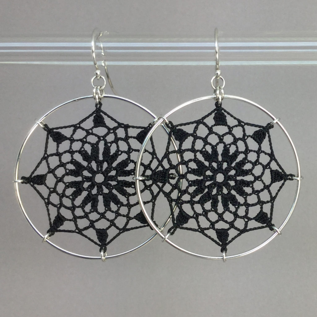 Mandala earrings, silver, black thread