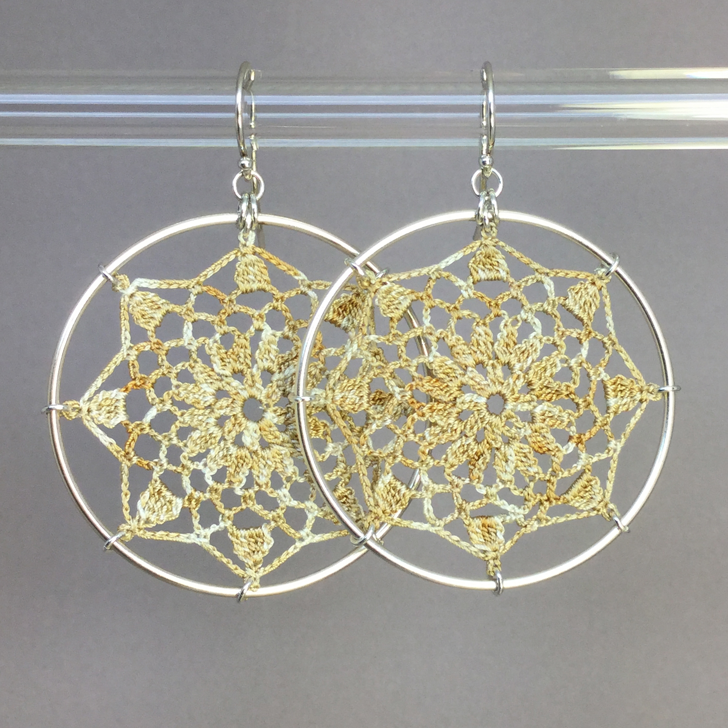 Mandala earrings, silver, french vanilla thread