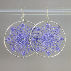 Mandala earrings, silver, lilac thread