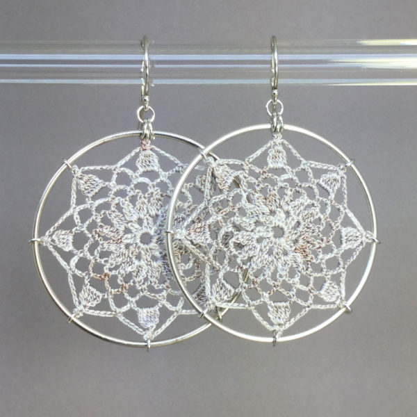 Mandala earrings, silver, pearly thread