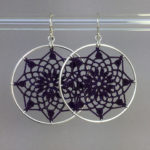 Mandala earrings, silver, purple thread