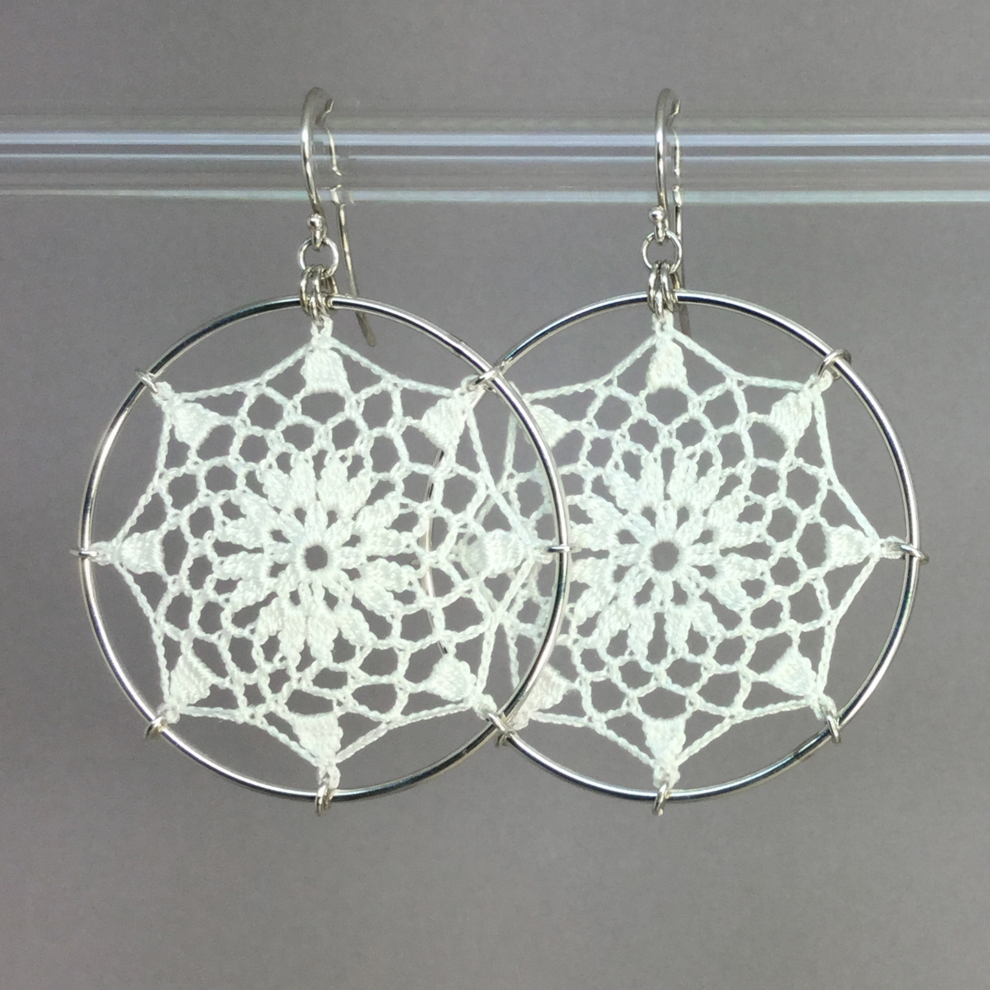 Mandala earrings, silver, white thread