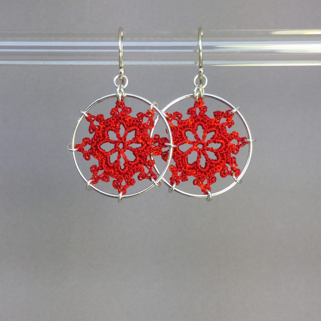 Nautical earrings, silver, red thread