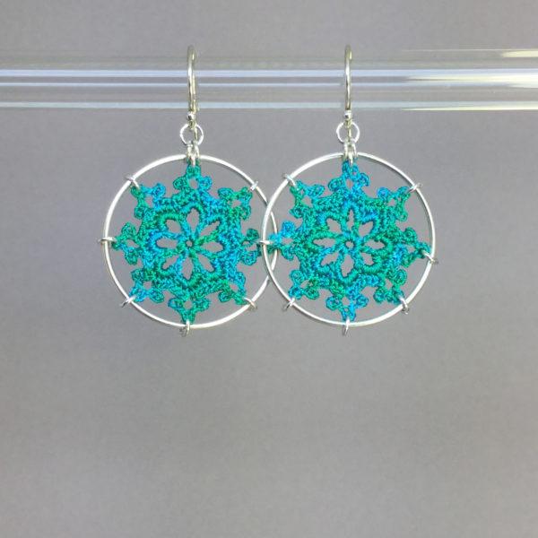 Nautical earrings, silver, shamrock green thread