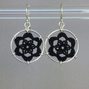 Peony earrings, silver, black thread