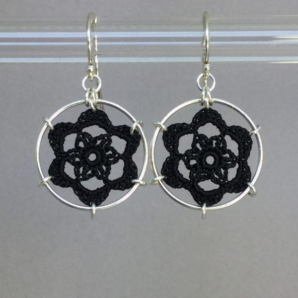 Peony earrings, silver, black thread