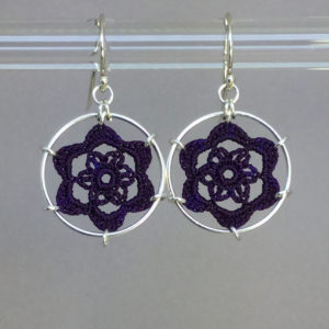 Peony earrings, silver, purple thread