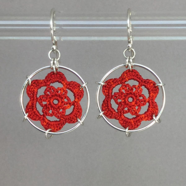 Peony earrings, silver, red thread