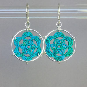 Peony earrings, silver, shamrock green thread