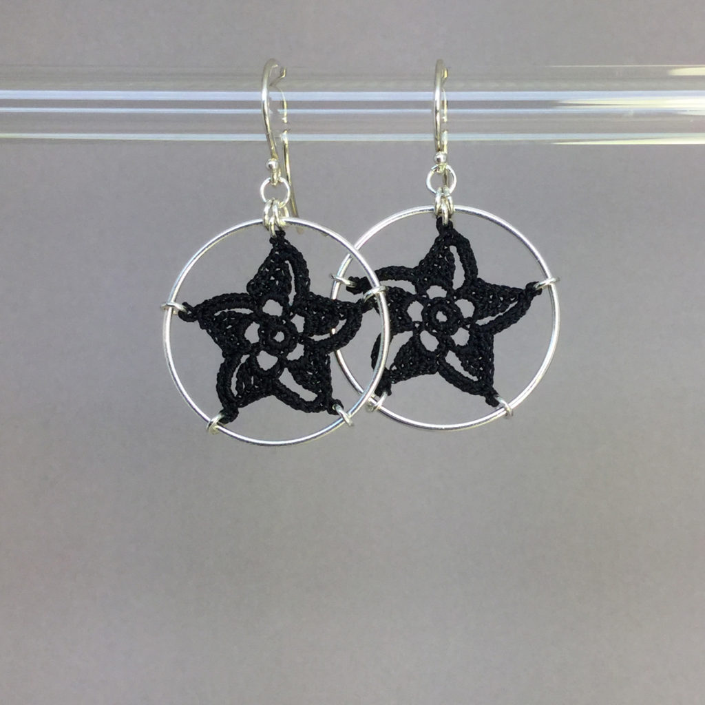 Pinwheel Star earrings, silver, black thread