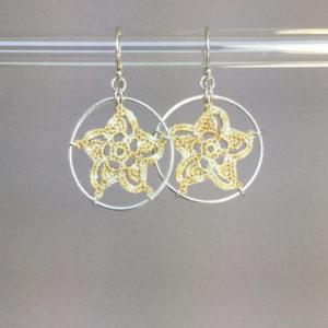 Pinwheel Star earrings, silver, french vanilla thread