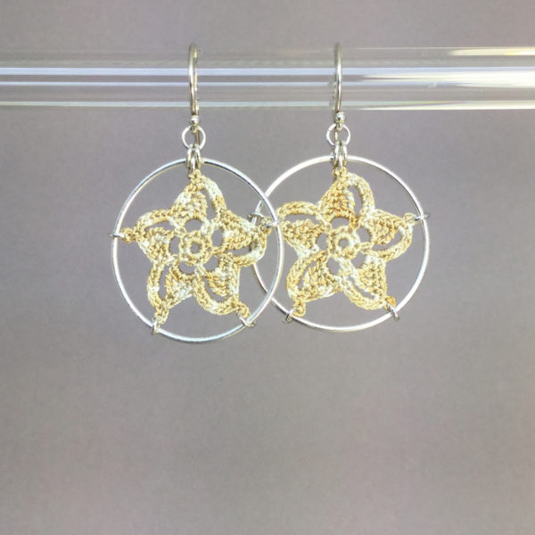 Pinwheel Star earrings, silver, french vanilla thread