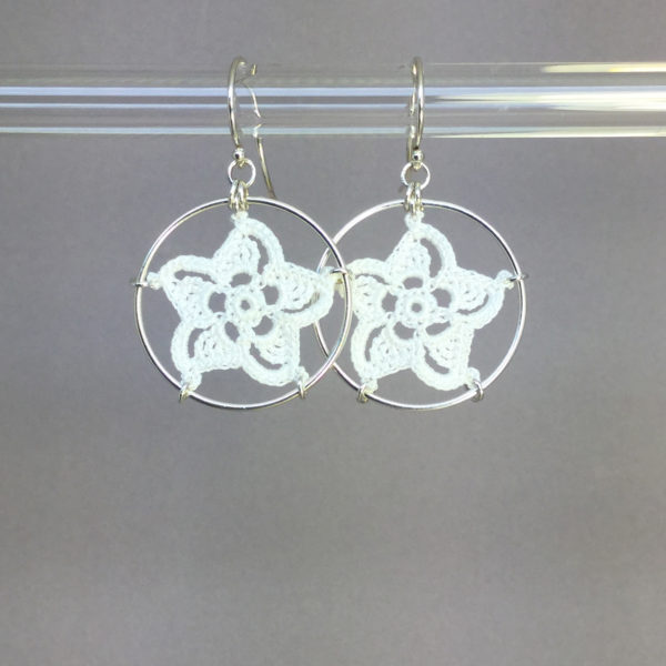 Pinwheel Star earrings, silver, white thread