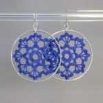 Scallops earrings, silver, blue thread