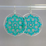 Scallops earrings, silver, shamrock green thread