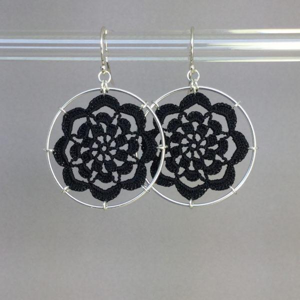 Serendipity earrings, silver, black thread