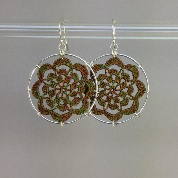 Serendipity earrings, silver, camo thread