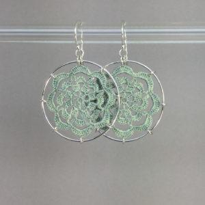 Serendipity earrings, silver, seafoam thread