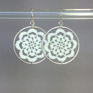Serendipity earrings, silver, white thread