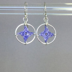 Spangles 1 earrings, silver, lilac thread