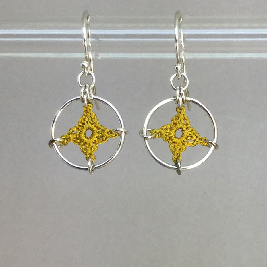 Spangles 1 earrings, silver, ochre thread