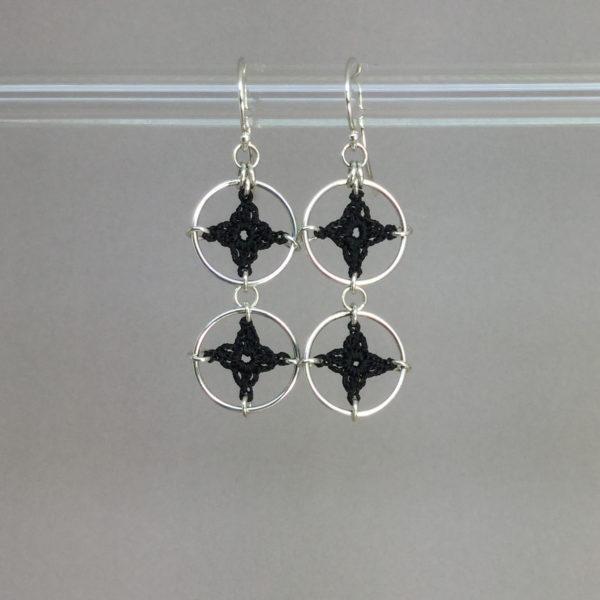 Spangles 2 earrings, silver, black thread