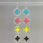Spangles 4 earrings, silver, cmyk thread
