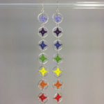 Spangles 4 earrings, silver, rainbow chakra thread