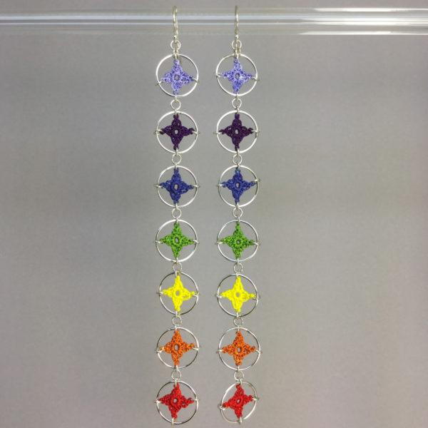 Spangles 4 earrings, silver, rainbow chakra thread
