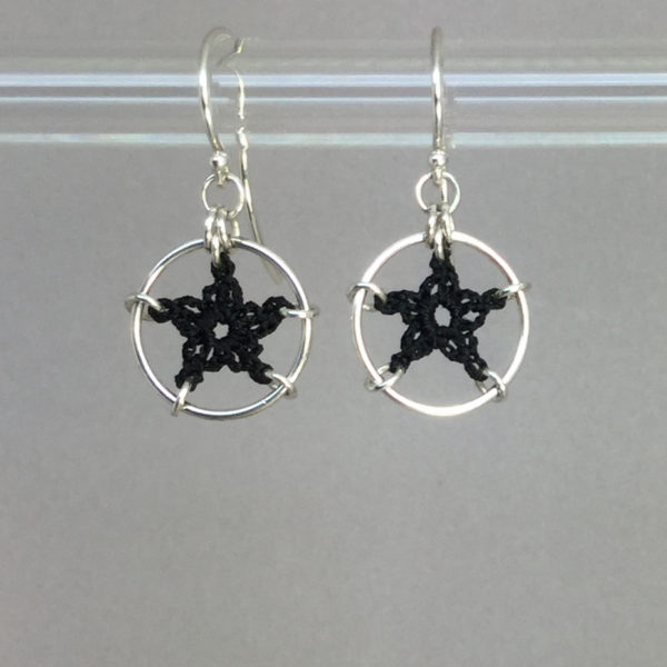 Stars earrings, silver, black thread