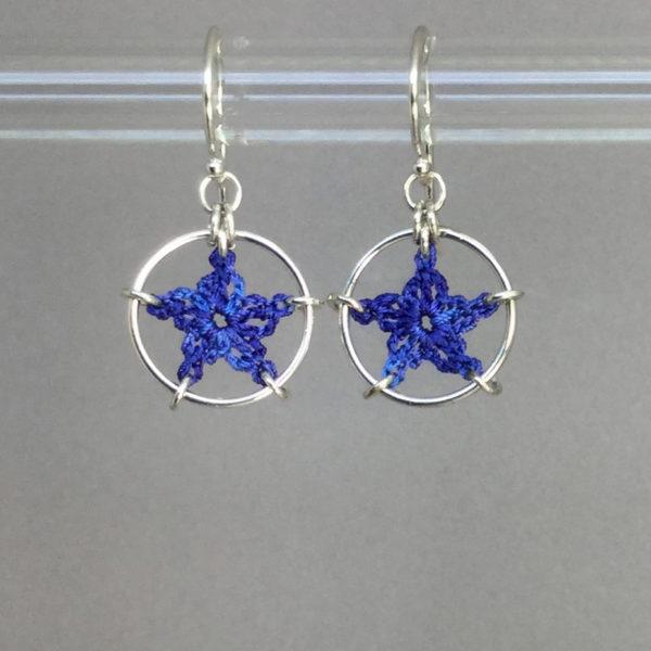 Stars earrings, silver, blue thread