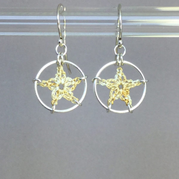 Stars earrings, silver, french vanilla thread