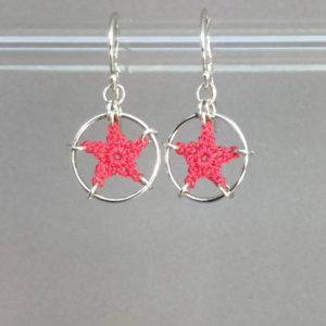 Stars earrings, silver, pink thread