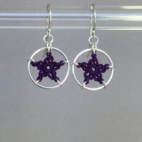 Stars earrings, silver, purple thread