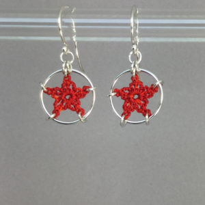 Stars earrings, silver, red thread