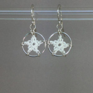 Stars earrings, silver, white thread