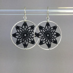 Tavita earrings, silver, black thread